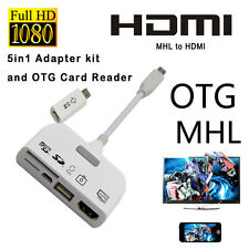 5 in 1 Micro USB MHL to HDMI HDTV Adapter USB OTG SD Card Reader Connection Kit#
