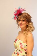 Hot Pink & Turquoise Fascinator Hat/any satin/highlight feather colour