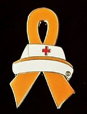 Orange Ribbon Pin Nurse Cap Awareness Leukemia Kidney MS Lupus Many Cancer Cause
