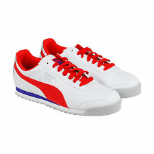 Puma Roma Basic Mens White Leather Lace Up Sneakers Shoes