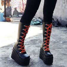 Cosplay Women High Platform Stitched Gothic Lace Up Chunky Heels Knee High Boots