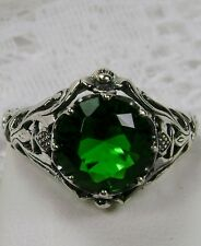 2ct*Emerald* Sterling Silver Floral Nouveau Daisy Filigree Ring Size: MTO/Custom