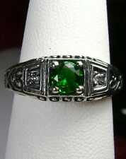 *Green Emerald* Art Deco Solid Sterling Silver Filigree Ring Size: Made To Order