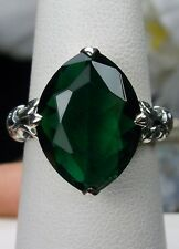 7ct Marquise *Green Emerald* Solid Sterling Silver Filigree Ring Size: Any/MTO