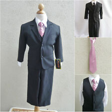 Black teen toddler boy formal suit with dusty rose/mauve long tie wedding party