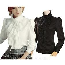VANCY NEW Blouse Womens Victorian shirt ladies party Satin Button Silky Top Size
