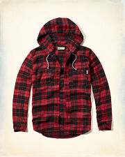 NWT Hollister-Abercrombie Mens Hooded Flannel Shirt Red/Black Plaid 100% Cotton