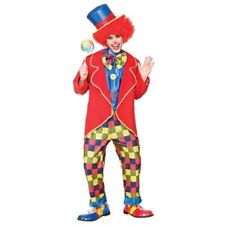 Circus Clown Mens Fancy Dress Costume Fun Clowns Outfit Sizes S-XL
