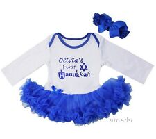 Baby Personalized Name First Hanukkah Star Bodysuit Tutu and Headband