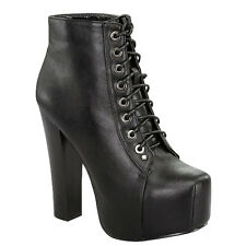 Black Retro Ankle Bootie Chunky Heel Lace up Ankle Boots Women's shoes