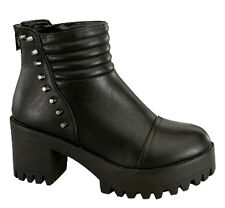Black Studded Ankle Bootie Chunky Heel Lug sole Ankle Boots Women's shoes Imani