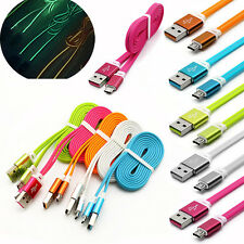 1M Fluorescence Metal Flat Noodle Micro USB Sync Data Charger Charging Cable Lot
