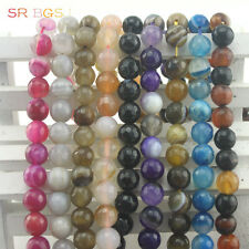8mm 10mm Natural  Round Faceted Gemstone Agate Jewelry Making Beads Strand 15""