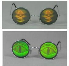 Holografie Glasses, round Skull,Reptile eyes Theme party Halloween
