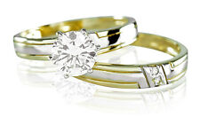 Lab Diamond 1.0 ct Engagement Ring Solitaire w/ Band Set 14k Solid Gold