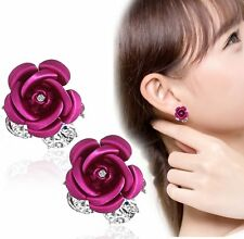 Girls Women Jewelry Elegant Rose Flower Crystal Rhinestone Stud Earrings A Pair