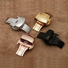 Chic Stainless Steel Butterfly Deployment Clasp Buckle Watch Strap Bands 16-24mm