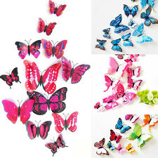 12pcs 3D Butterfly Design Art Decals Wall Stickers Decor Home Room Decorations