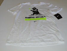 Nike Women's Runners Republic T-Shirt S L White Gym Casual Training Running New