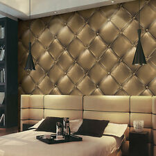 3D Luxury Skin Vinyl Headboard Faux Leather Effect Wallpaper Brown/Grey/Gold