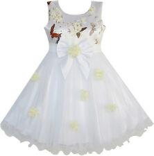 Flower Girl Dress Dimensional Flower Butterfly Bow Tie Party Size 4-10 Pageant