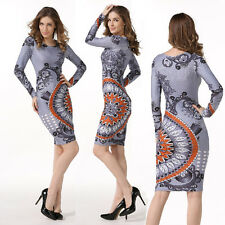 Bodycon Dress Sexy Women Casual Long Sleeve Skirt Fashion Retro Costume Tight
