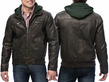 Sean John New Brown Mens Faux Leather Hooded Bomber Jacket MSRP $250