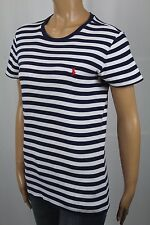 Ralph Lauren Navy Blue White Short Sleeve Knit Top Shirt Crew Neck NWT