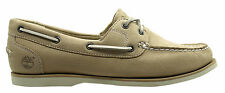 Timberland Classic 2 Eye Womens Boat Shoe Beige Leather Suede 3941R D50