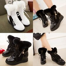 Fashion Women Winter Warm Lace Up Ankle Snow Boot Flat Heel Fleece Lined Shoes