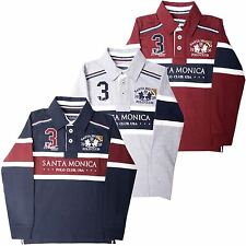 Boys Casual Rugby Polo Shirt Collared Long Sleeve Top by Santa Monica 4-10 Years