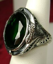 18ct *Green Emerald* Sterling Silver Victorian Filigree Ring (MTO/New) Size Any