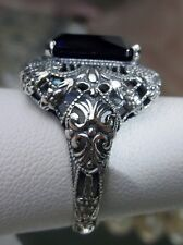 6ct *Sapphire* Sterling Silver Intricate Victorian Filigree Ring Size Any/MTO