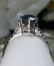 Victorian Natural Sapphire Sterling Silver & White Gold Filigree Ring Size {MTO}