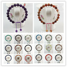 NF098 Hand-knitted 8mm/10mm Mixed Gemstone Adjustable Bead Bracelet 7.5 inch