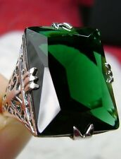 30ct Rectangle Cut *Green Emerald* Sterling Silver Filigree Ring Size: Any/MTO
