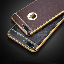 Luxury Leather Chrome Soft TPU Case Shockproof Cover For Apple iPhone 7 / 7 Plus