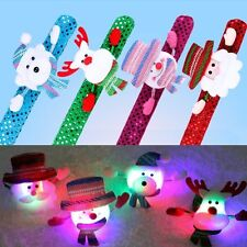 Cute Santa Claus Snowman LED Slap Band Glow Wristband Bracelet Christmas Decor