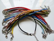 20ps mix 10 colors braided PU leather bracelet cords fit European beads 3mm  NEW