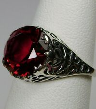 4ct *Red Ruby* Solid Sterling Silver Ivy Nouveau Filigree Ring Size: Any/MTO