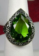 8ct Tear *Green Peridot* Victorian Filigree Sterling Silver Ring {Made To Order}