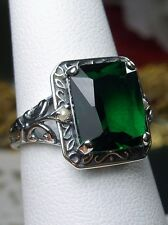 4ct *Emerald* & Pearl Sterling Silver Deco Filigree Ring Size: (Made To Order)