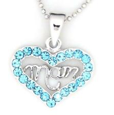 New MOM Heart Blue Color Crystal Silver Tone Charm Pendant Necklace