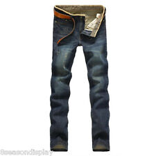 Mens Slim Fit Straight Washed Denim Pants Pencil Trousers Casual Jeans Pants