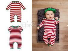 Christmas Striped Infant Baby Boys Girls Creeper Bodysuit Pajamas Romper