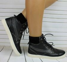 WOMENS LADIES FLAT LACE UP HI HIGH TOP PUMPS TRAINERS SHOES SIZE 3 4 5 6 7