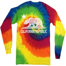 California tie dye shirt long sleeve tie dyed tee shirt California bear flag