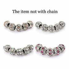 5pcs Rhinestone European Charms Charm Beads fit authentic bracelet 7.5 lot