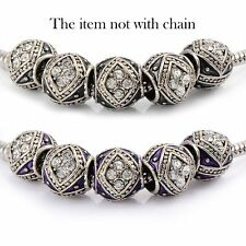 5psc Silver Plated Enamel Crystal European Charms Beads fit european bracelet