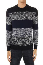 DOLCE & GABBANA man Round neck wool Sweater nero blue white made in italy